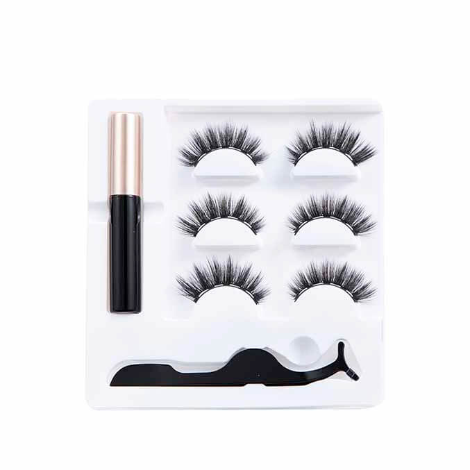 3 Pairs Black Magnetic Eyelashes Kit