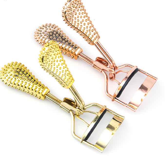 Golden Dotted Rubber Grips Eyelash Curlers